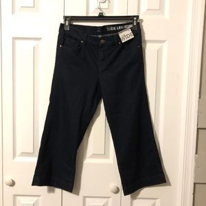 New York & Company Wide Leg Crop Dk Blue Jeans 6